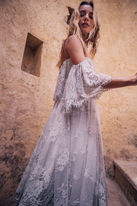 off the shoulder white lace wedding dress with fringe sleeves