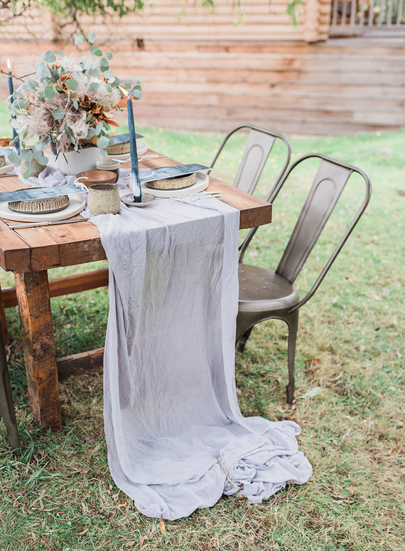 Flowy fabrics and indigo dyed candles were a great choice for this shoot