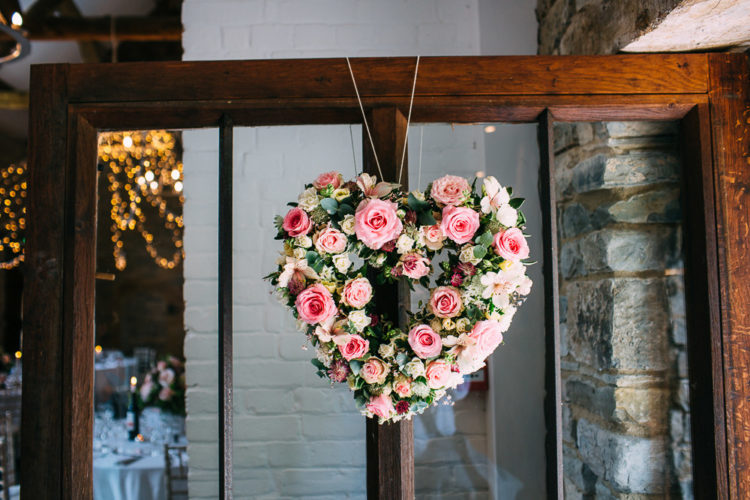 Some pink-colored floral hearts were incorporated into the decor