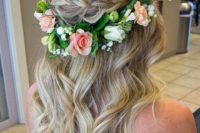 09 braided wavy hairstyle with a fresh flower crown