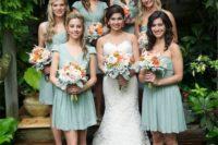 09 dusty shale short bridesmaids' dresses