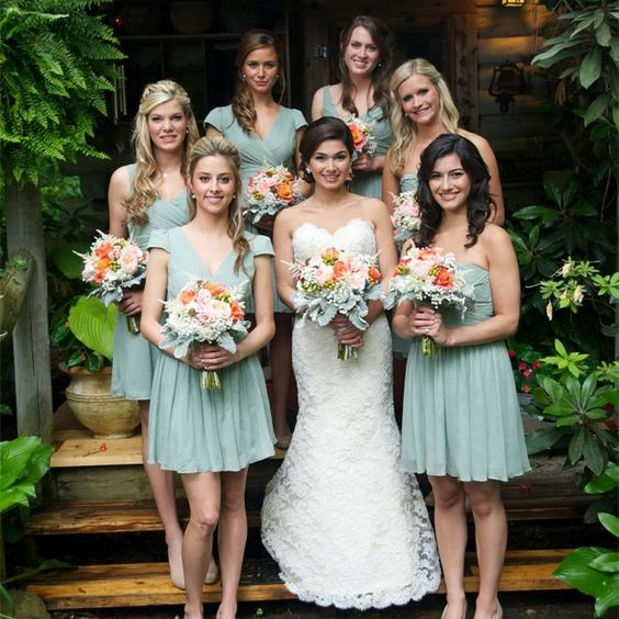 dusty shale short bridesmaids' dresses