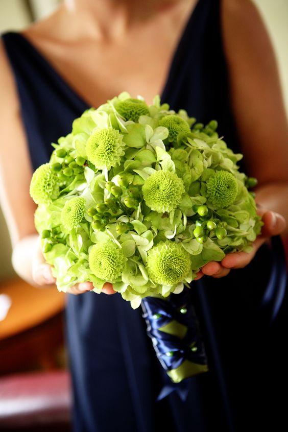 green hydrangea, button mums and hypericum berry bouquet