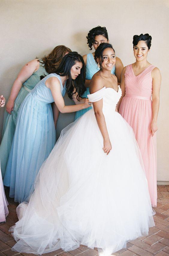 off the shoulder ballgown for an elegant wedding