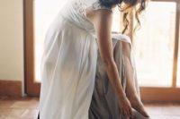 09 off-white wedding dress, glitter heels and a flower crown