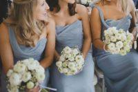10 dusty blue one shoulder bridesmaids' dresses
