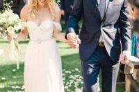 10 flowy off the shoulder wedding dress with an embellished belt
