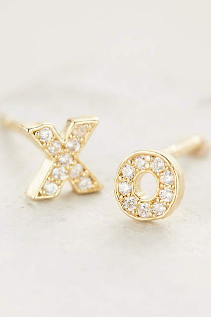 gold XO stud earrings with diamonds