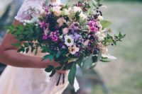10 textural and dimensional wildflower wedding bouquet and a matching crown