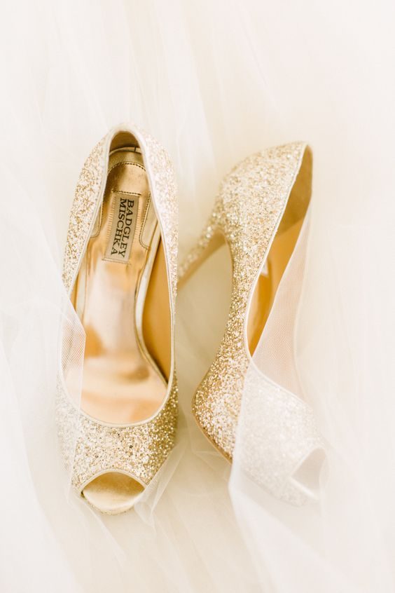 gold glitter peep toe shoes