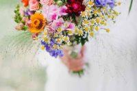 11 super bold wildflower wedding bouquet is ideal for a summer bride