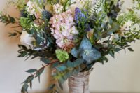 11 textural bouquet wrapped with bark