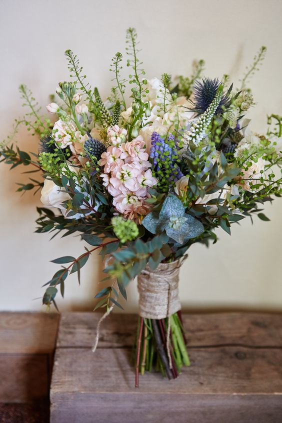 textural bouquet wrapped with bark