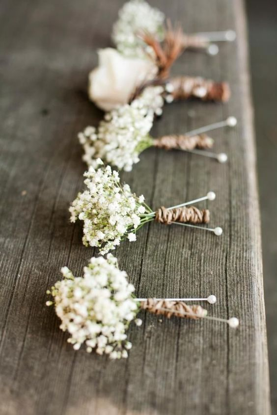baby's breath boutonnieres with jute