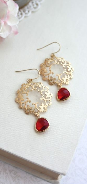gold chandelier earrings with rubies