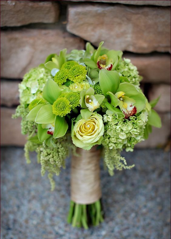 lime green wedding bouquet