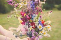 12 textural summer wildflower wedding bouquet