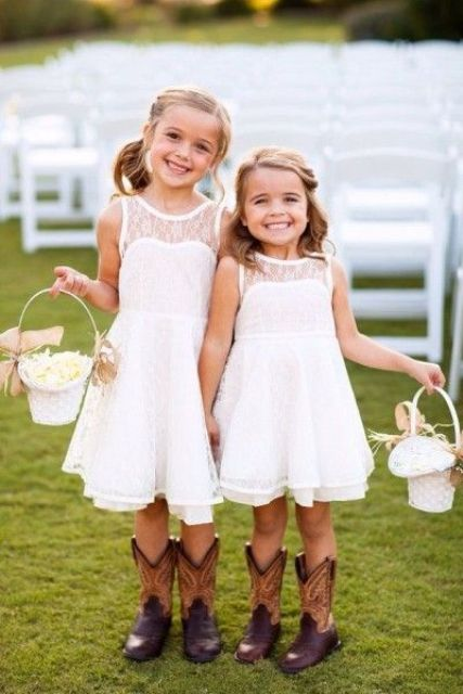 illusion neckline ivory lace over the knee dresses and cowboy boots are perfect flower girl outfits for country weddings