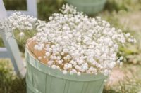 13 mint baskets with baby's breath for aisle decor