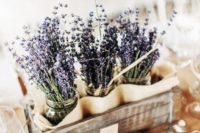 14 a crate with lavender in jars will make a great centerpiece