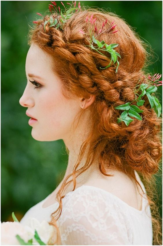 boho messy braided updo with fresh leaves