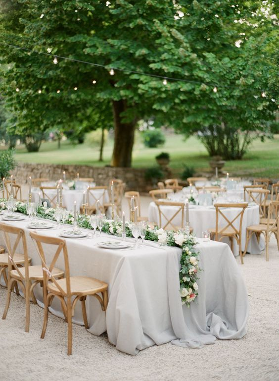 Picture Of Grey Tablecloth With A Floral And Greenery