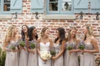 14 soft cream chiffon bridesmaids' dresses