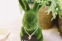 15 moss bunnies for holding table names or numbers