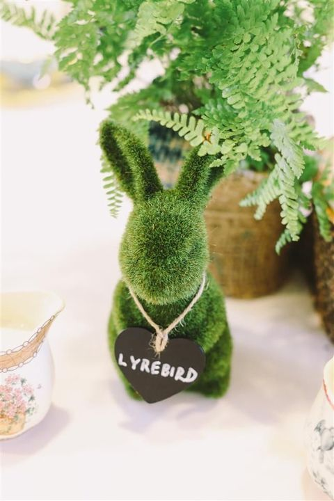 moss bunnies for holding table names or numbers
