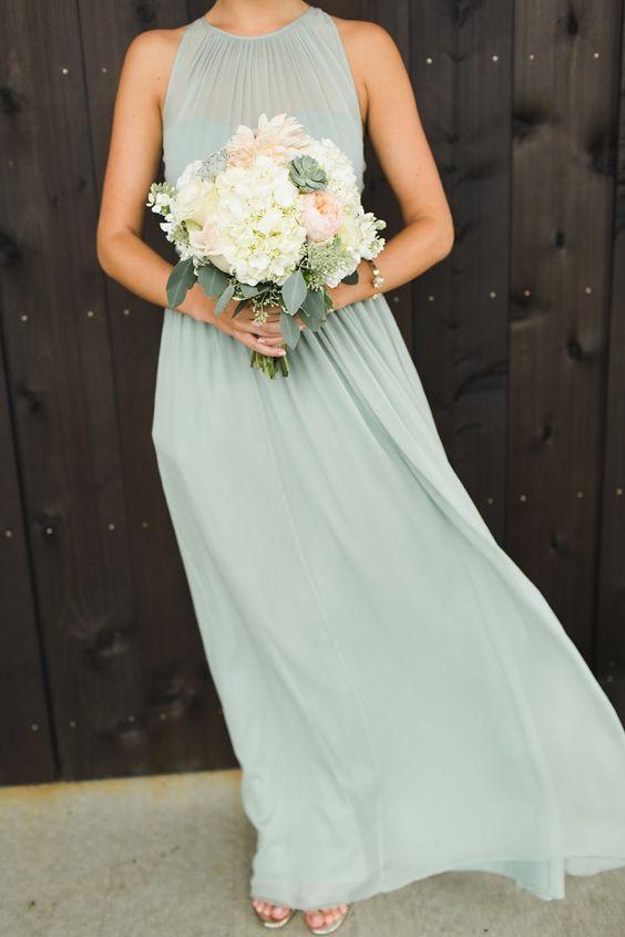 simple pastel green bridesmaid's dress with a halter neckline