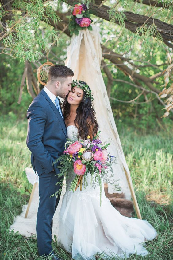 a teepee is great for a boho chic wedding, for taking pics and just sitting there