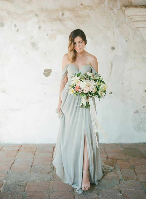 pastel green off the shoulder bridesmaid's dress
