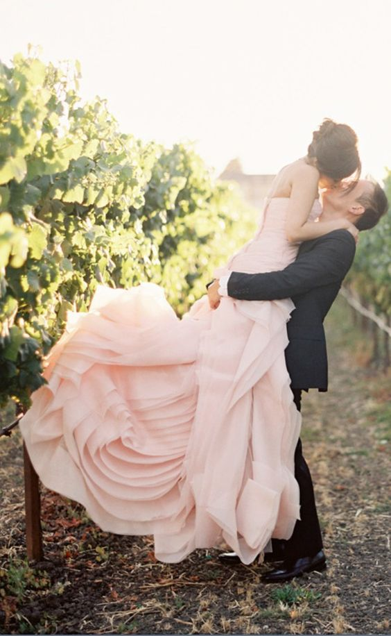 strapless very light pink wedding dress