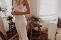 17 boho lace wedding gown with a train
