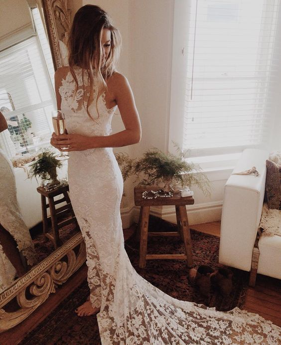 boho lace wedding gown with a train