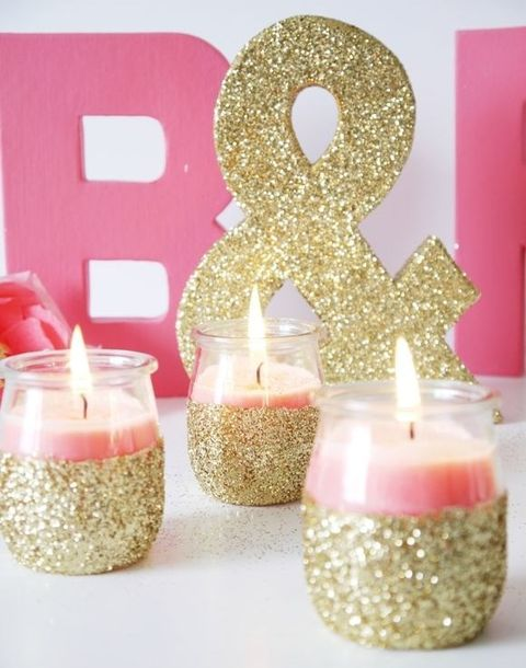 glitter ampersand and candle holders