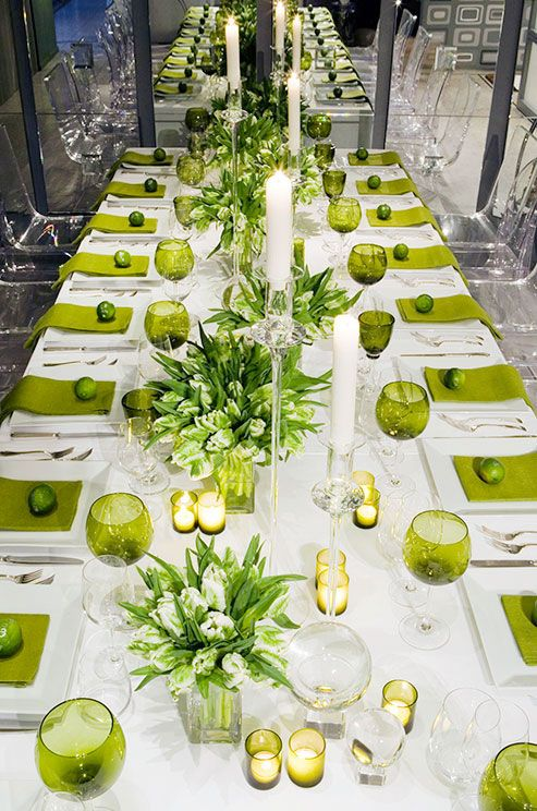 greenery color napkins and glasses looks fresh and contrasting with crispy whites