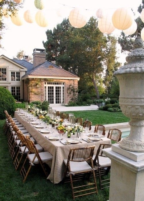small and cozy backyard wedding reception