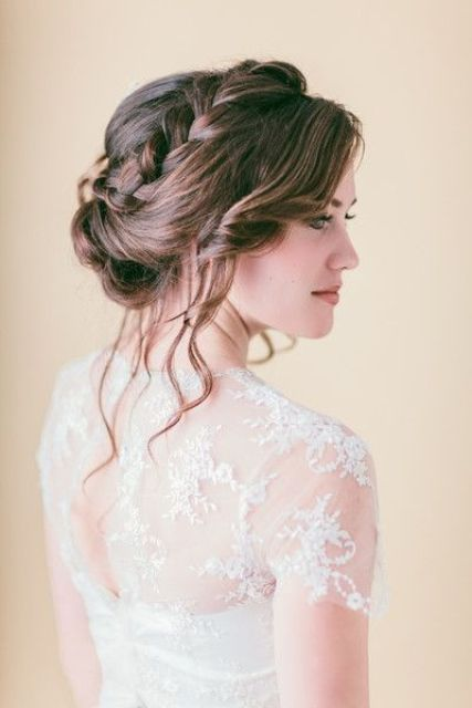 braided updo with wavy hair down