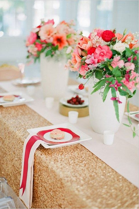 gold sequin tablecloth is sometimes all you need to achieve a glam look