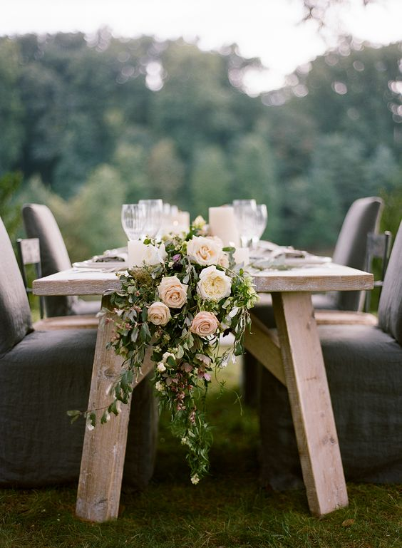 greenery and blush roses garland for table decor