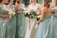 18 mint-colored maxi bridesmaids' dresses