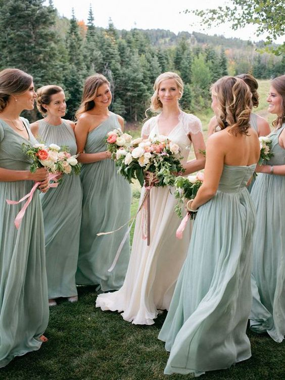 mint-colored maxi bridesmaids' dresses