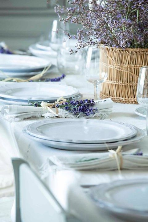 rustic tablescape with lots of lavender