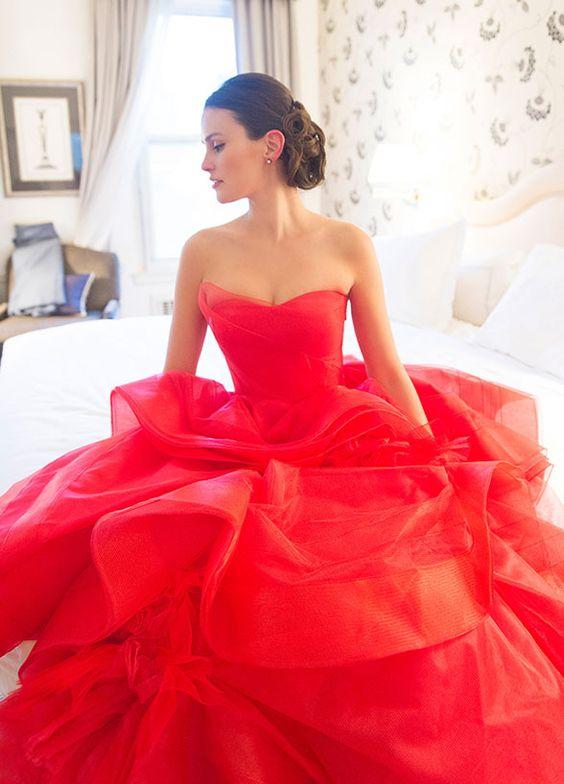 stunning fiery red strapless wedding dress