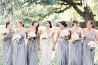 19 mismatched dusty blue long bridesmaid dresses