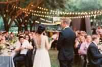 19 romantic string light outdoor reception