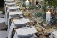 19 rustic table setting with fresh greenery and billy balls