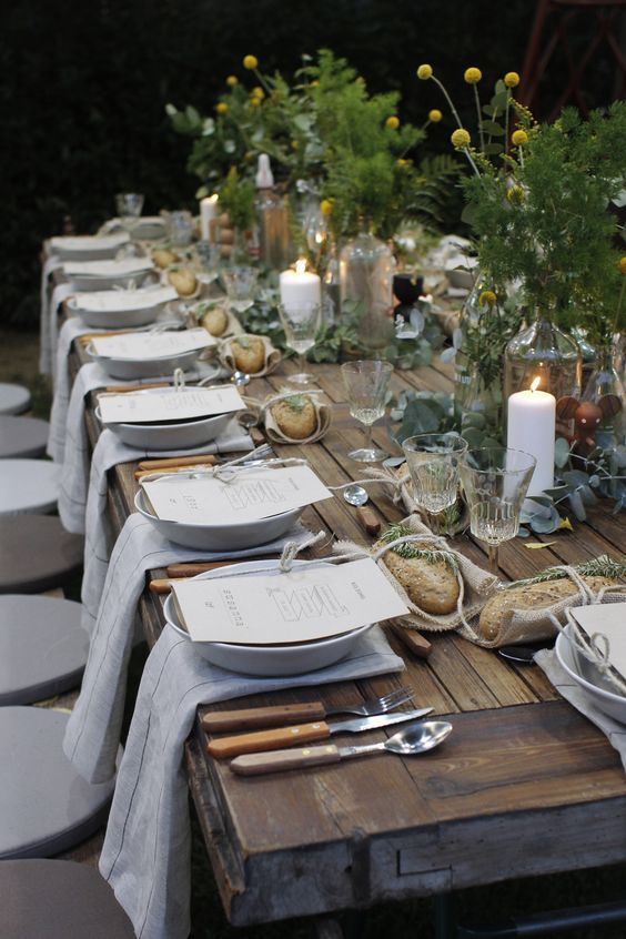 rustic table setting with fresh greenery and billy balls