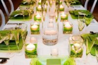 Picture Of Lime Green Table Runner, Napkins And Ribbon Bows. Pantoneu0027s 2017  Color: 28 Greenery Wedding Ideas